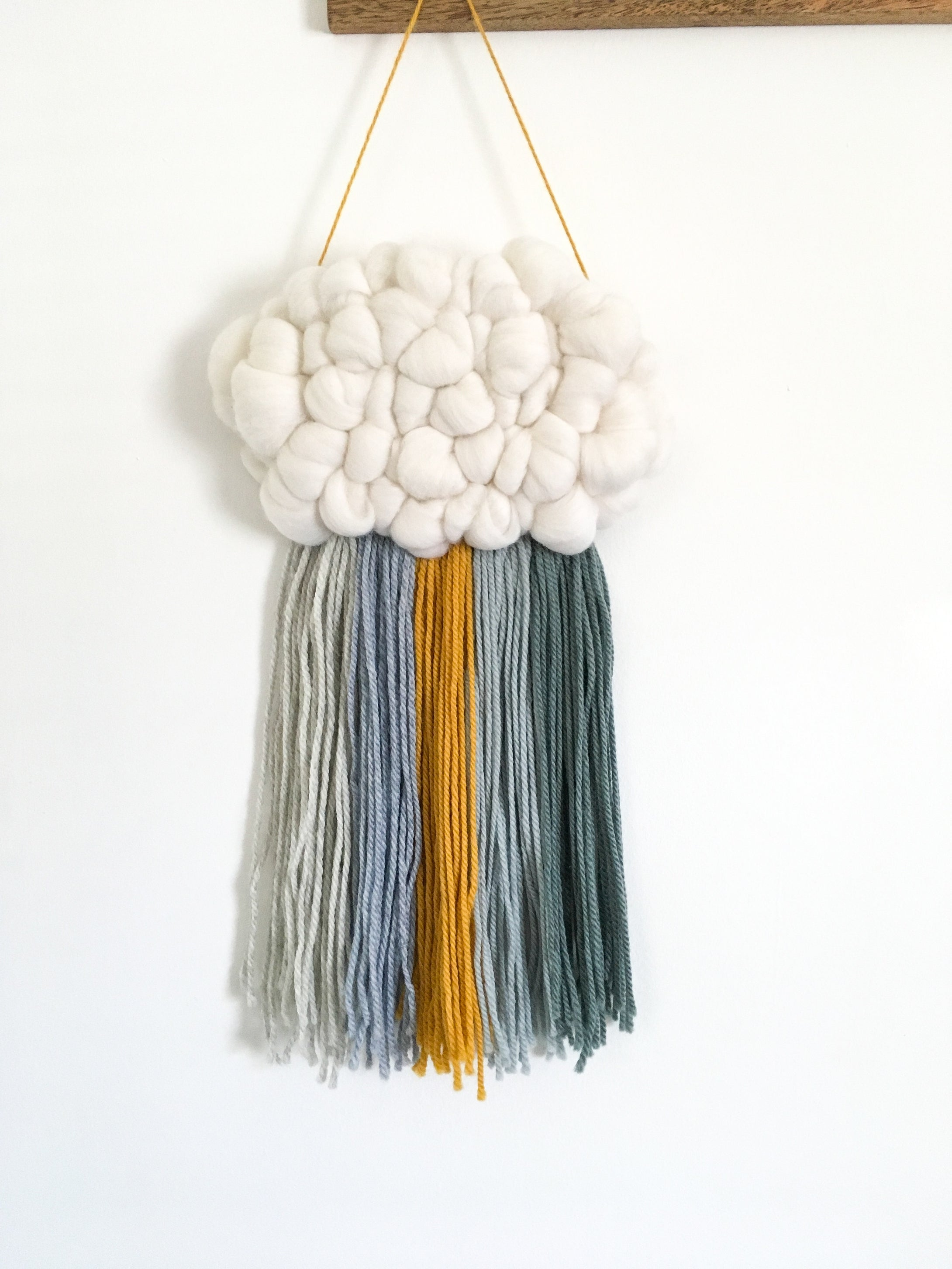 Cloud Woven Wall Hanging in Muted Blues/mustard Rainbow