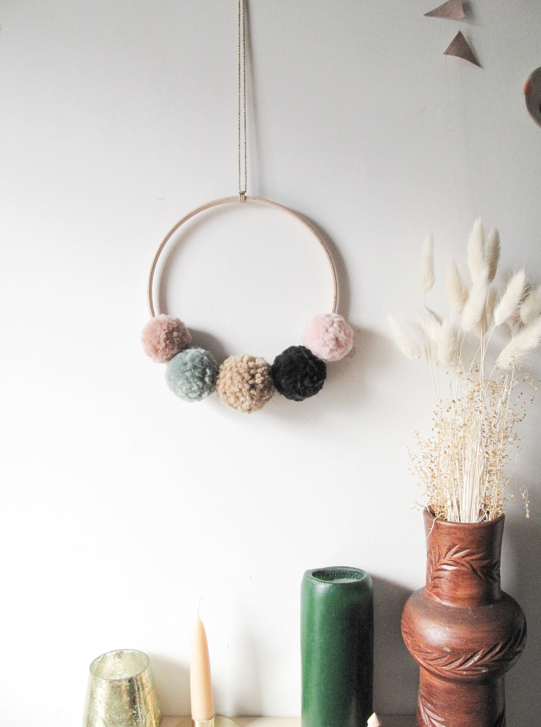 Small Pom Pom Wreath in Warm Pinks and Greens with Gold