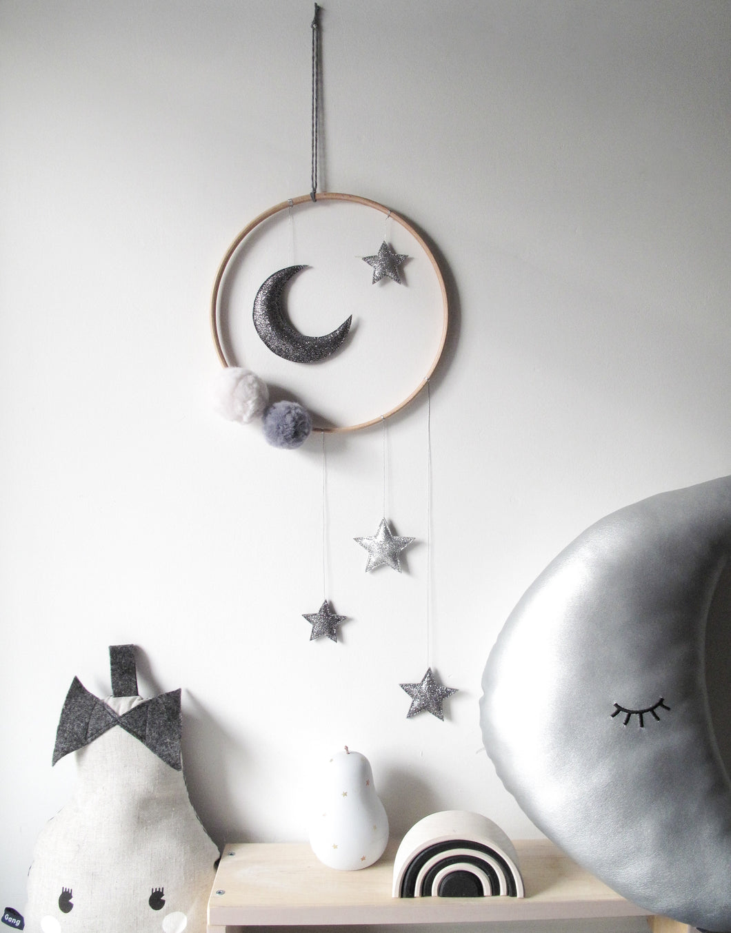 Dark Grey Moon and Stars Mobile