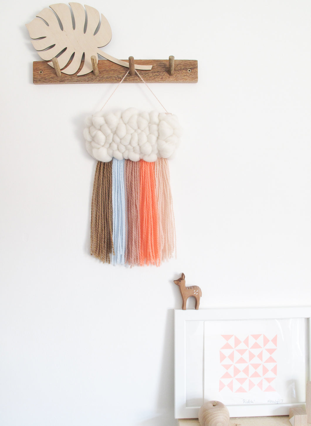 Mini Cloud Woven Wall Hanging in Muted Retro Rainbow