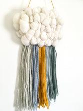 Mini Cloud Woven Wall Hanging in Muted Blues/mustard Rainbow
