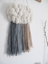 Cloud Woven Wall Hanging in Soft Blue Rainbow