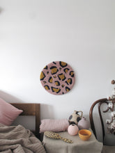Fibre Wall Art In Pink/Navy/Mustard Leopard