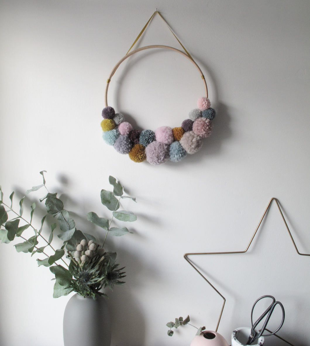 Pom Pom Wreath in Multi Colour Mix