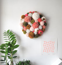Pom Pom Wall Hanging/Wall Art Peaches and Green