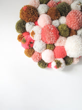 Peach and Green Pom Pom Wall Hanging