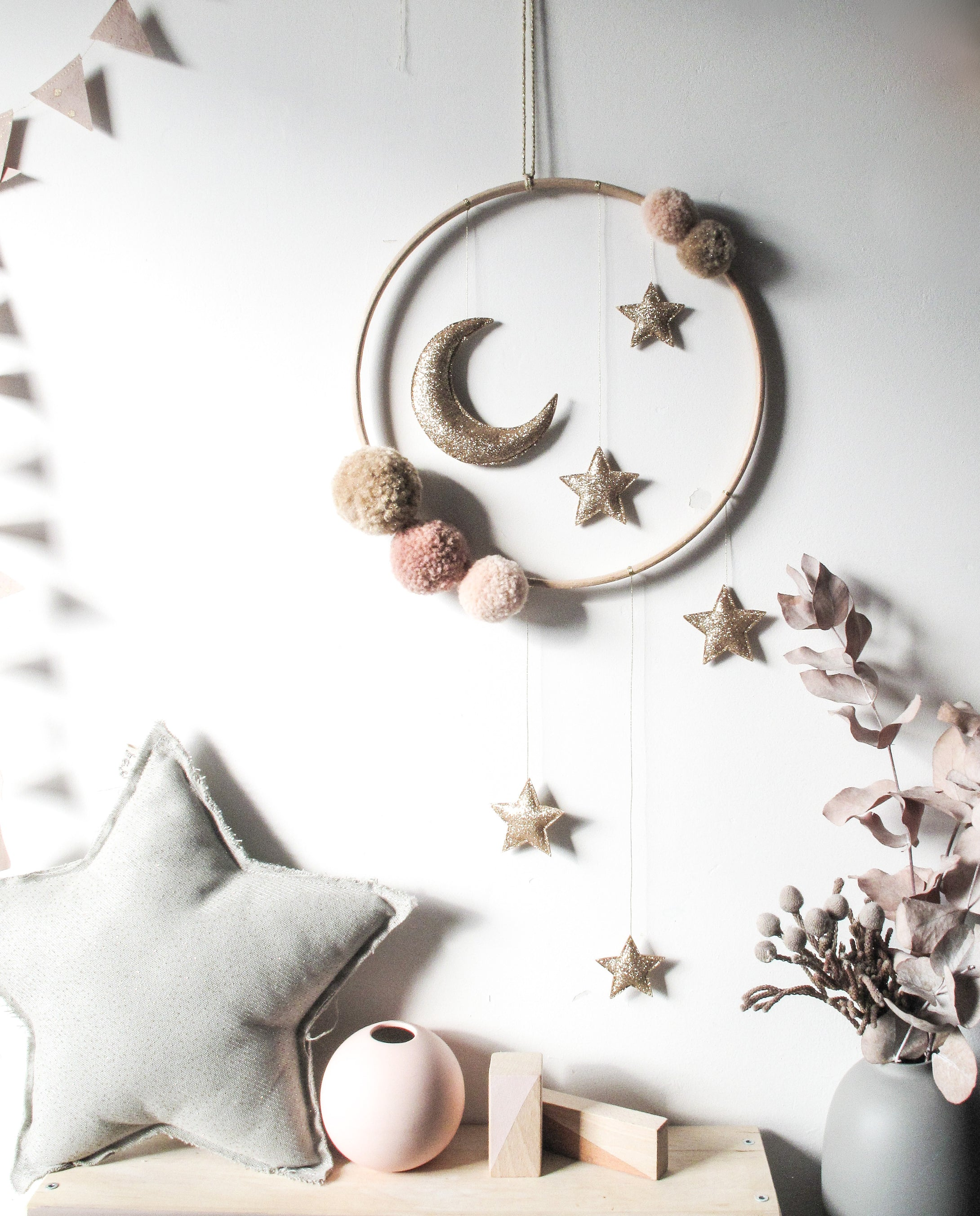 Gold and Warm Peaches Moon and Stars Large Mobile