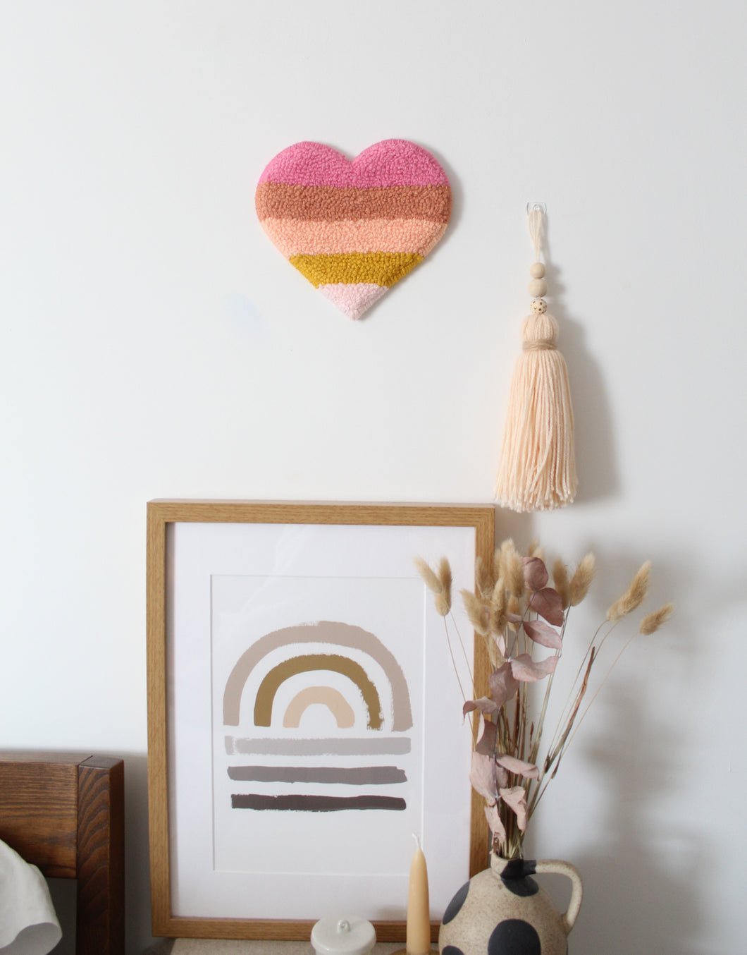 Warm Retro Stripes Heart