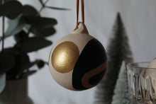 Earth and Gold Abstract Shapes Hand Painted Bauble