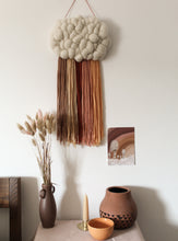 Cloud Woven Wall Hanging Warm Rust Tones Rainbow