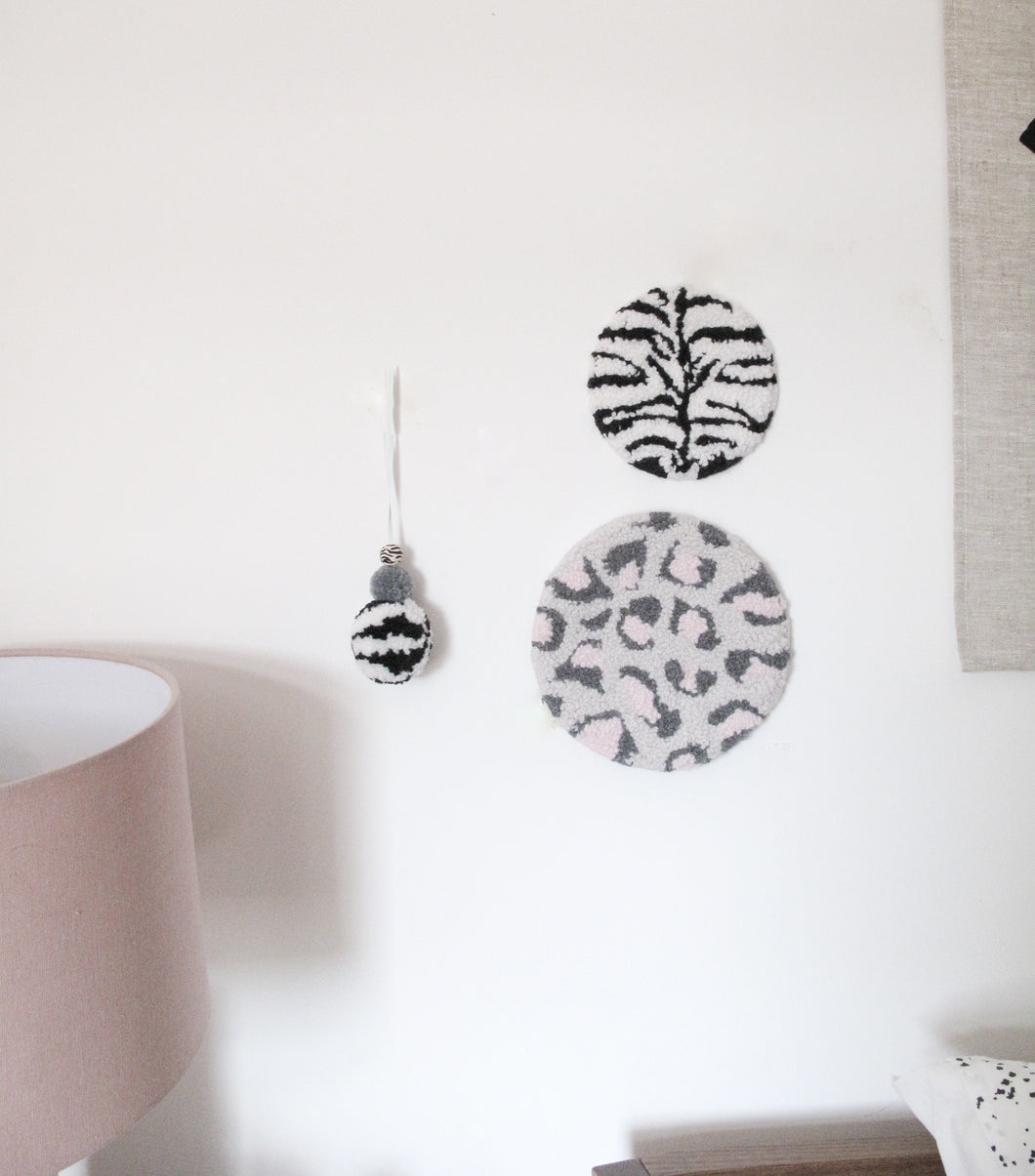 Mini Fibre Wall Art In Black and White Zebra