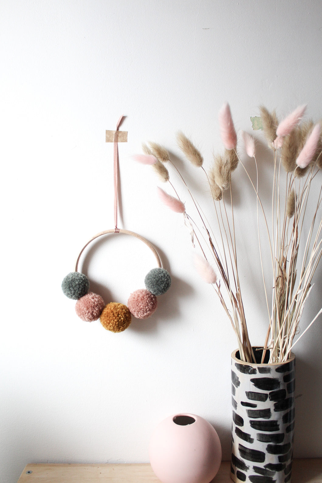Mini Pom Pom Wreath in Custom Order Muted Mix **mustard, dusky green, deep dusky peach**