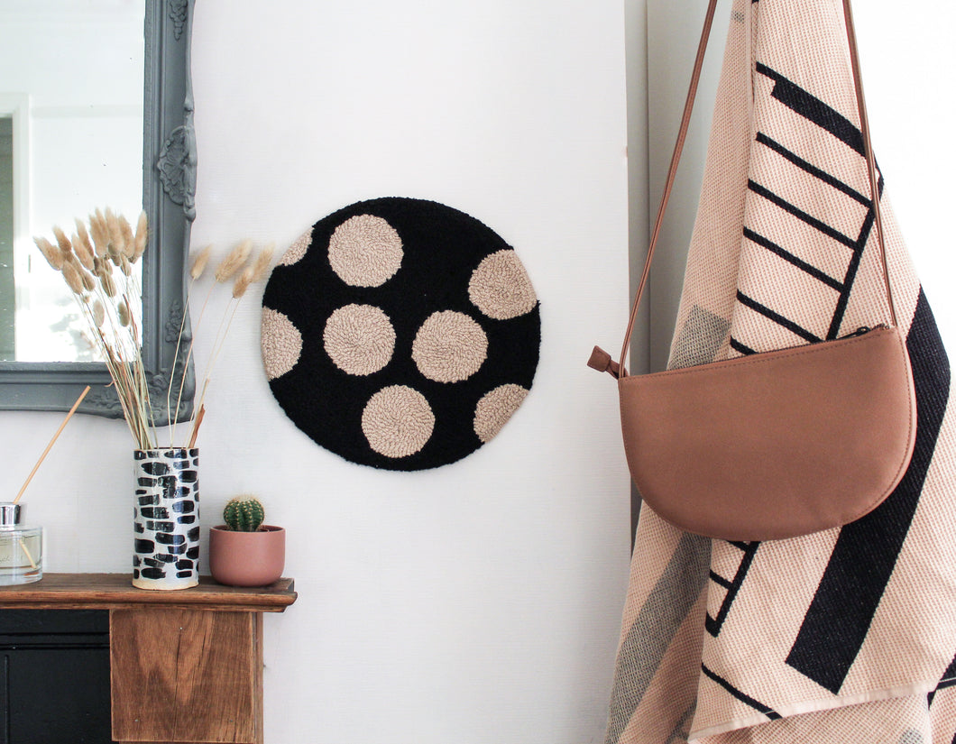 Fibre Wall Art In Beige Spots on Black