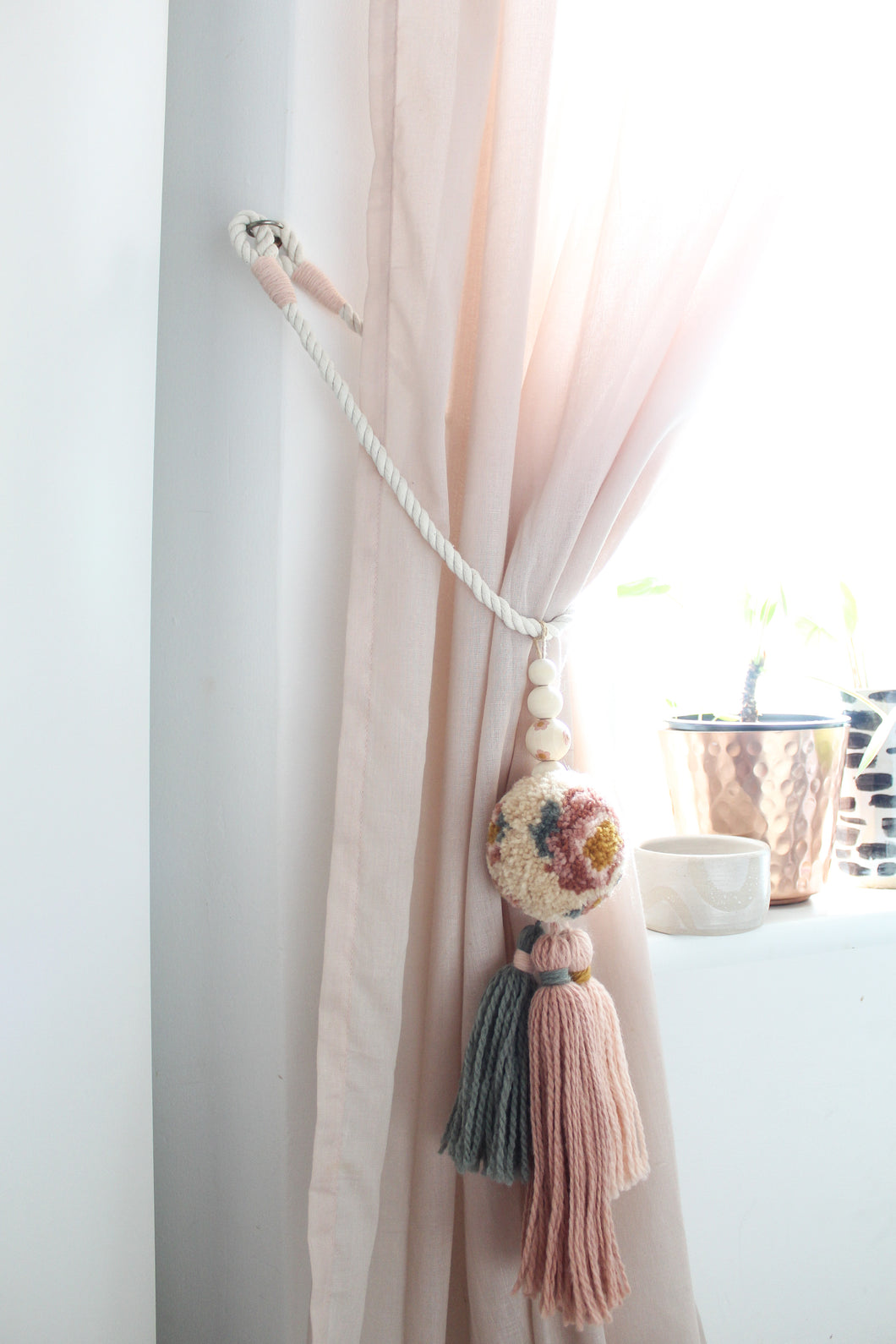 Curtain Tiebacks in Chunky Muted Floral Pom with Tonal Tassels