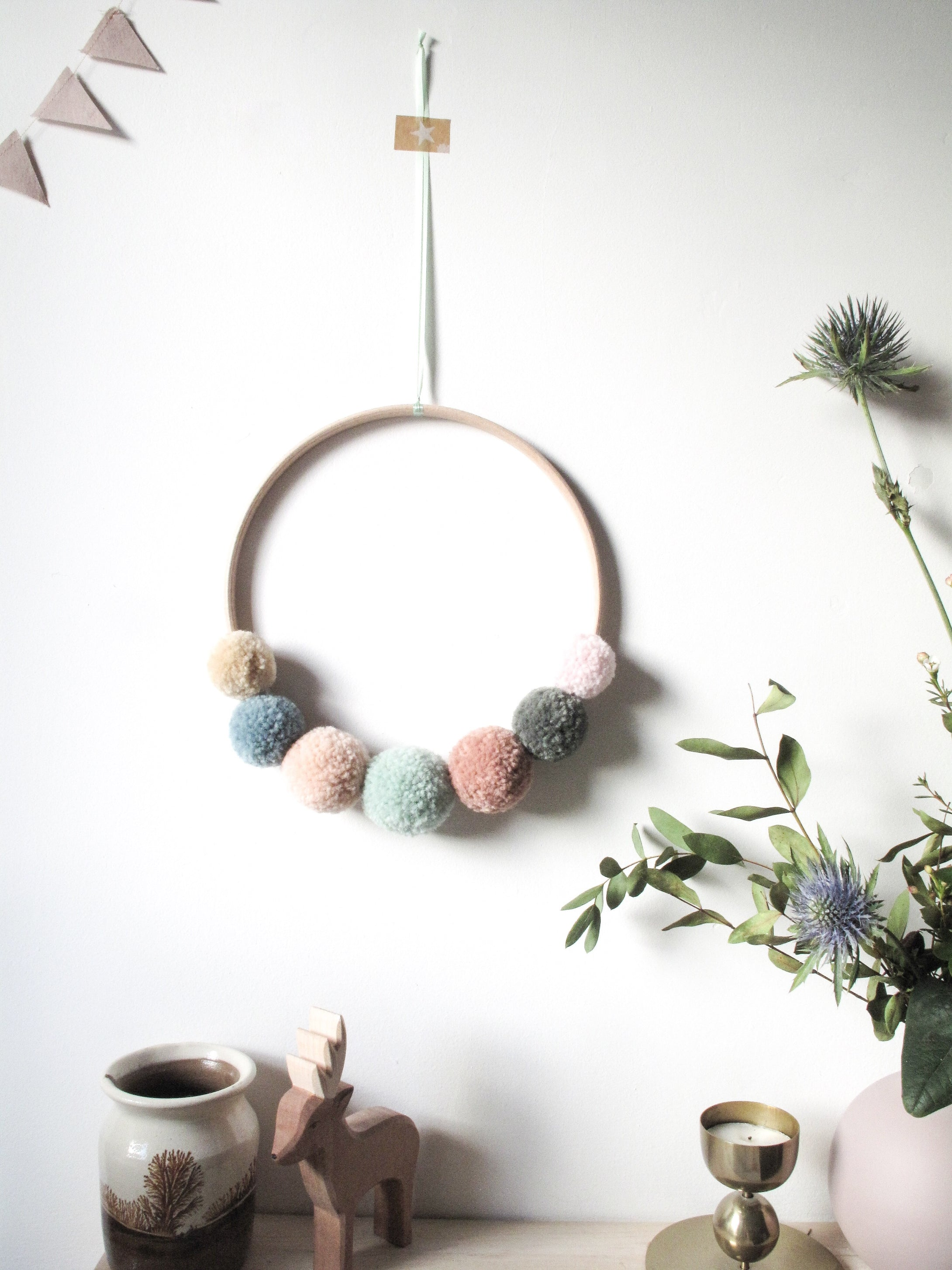 Small Pom Pom Wreath in Soft Pastels