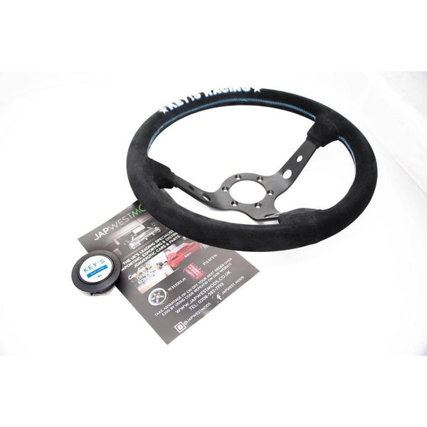 AUTHENTIC KEY'S RACING SUEDE STEERING WHEEL & HORN 350MM-Clearance Parts-Drift Society