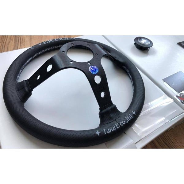 VERTEX CHECKER LEATHER STEERING WHEEL-Vertex-Drift Society