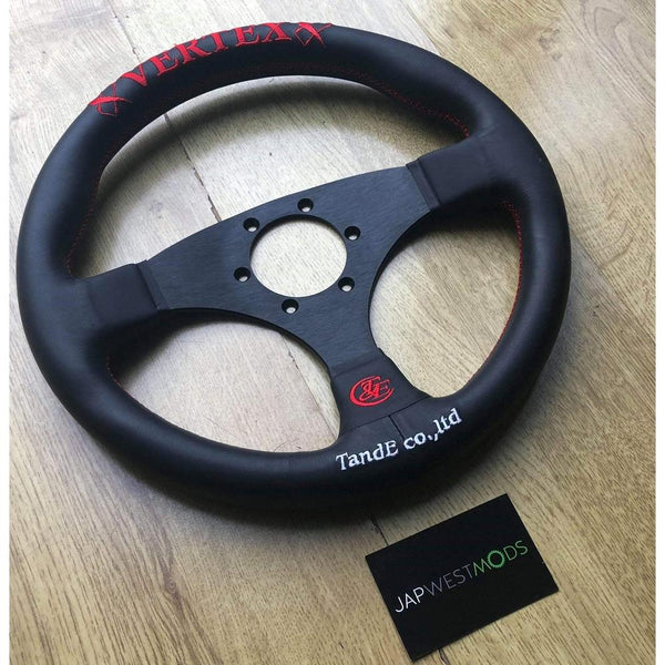 VERTEX FLAT RED STEERING WHEEL-Vertex-Drift Society
