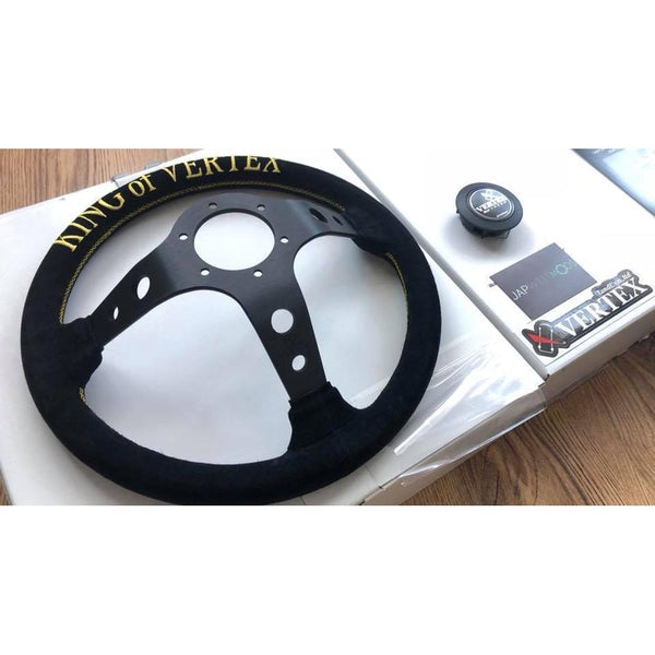 "VERTEX SUEDE BLACK ""KING"" STEERING WHEEL 330MM-Vertex-Drift Society"
