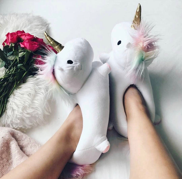 unicorn slippers cute cozy unicorn slippers for home. Black Bedroom Furniture Sets. Home Design Ideas