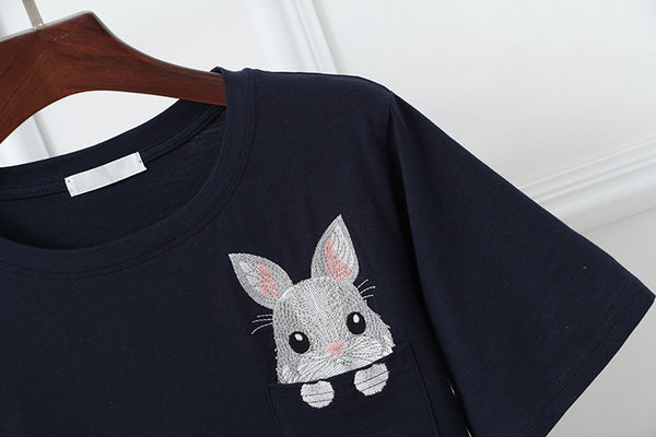 Liby Embroidered Rabbit Oversized Shirt