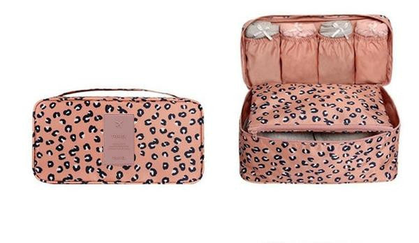 leopard travel bags for women's lingerie