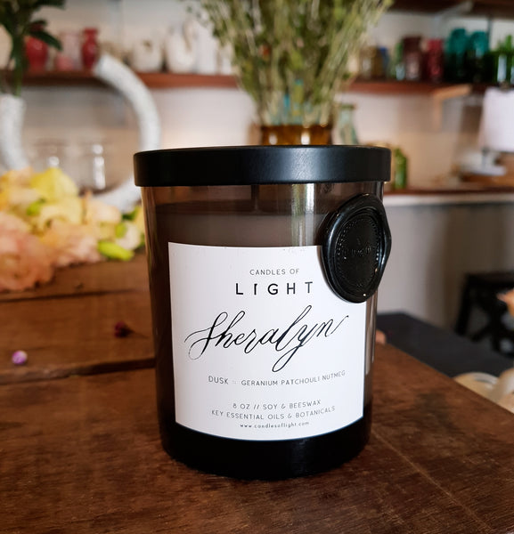 Dusk 8oz Candle- Limited Edition Custom Calligraphy Label