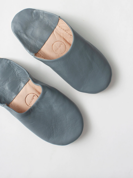 Leather Bedroom Slippers in Slate Grey