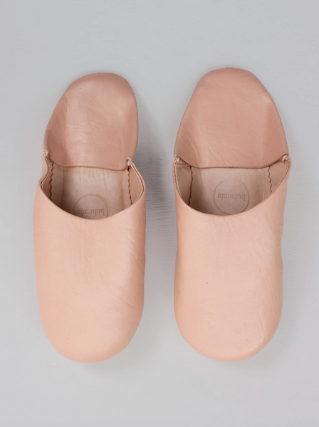 Leather Bedroom Slippers in Ballet Pink