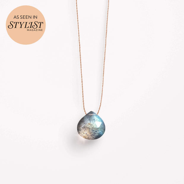 wanderlust life jewellery necklace Iridescent Labradorite Fine Cord Necklace