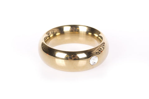 Gold Donut Thick 55mm Cock Ring with Jewel