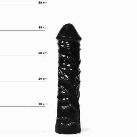 All Black AB19 Veined Textured 13 inch Dildo