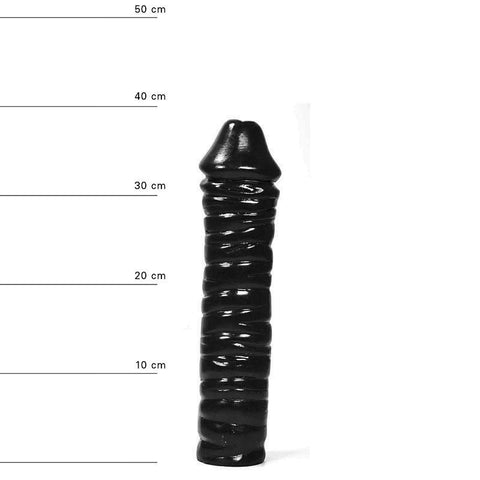 All Black AB51 13 Inch Rippled Dildo