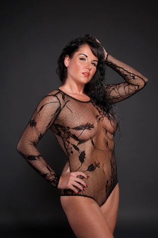 Cherish – Black Lace Bodysuit - The Pantie Purse