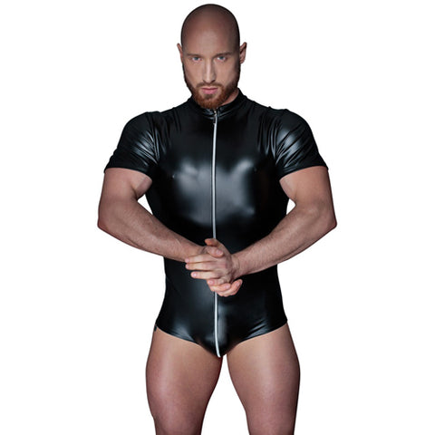 Black Wetlook Mens Zip Up Bodysuit