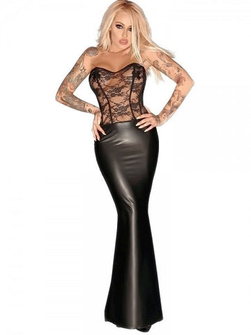 Noir Handmade Black Power Wetlook & Lace Corset Long Dress - The Pantie Purse