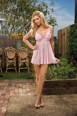 Dreamgirl Pink Sheer Enticement Pleated Babydoll - The Pantie Purse