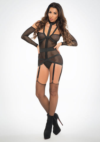 Adore See Through Me Corselette with Garters