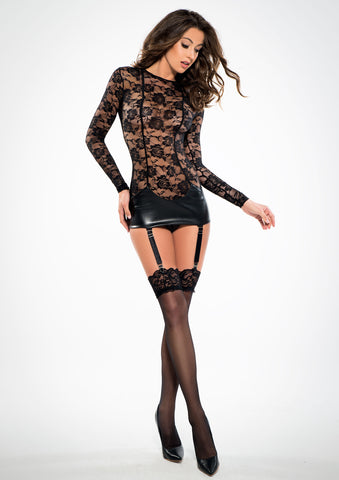 Adore Black Lace and Wetlook Garter Chemise