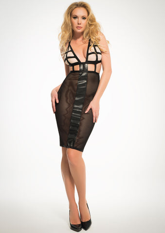 Adore Black Mesh Cut Out Dress