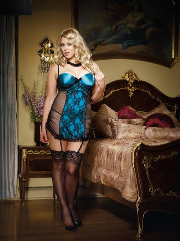 Blue Satin Burlesque Babydoll - The Pantie Purse