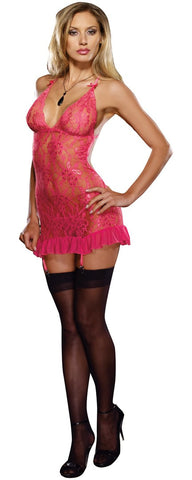 Dreamgirl Pink Stretch Lace Chemise with Bustle Detail - The Pantie Purse