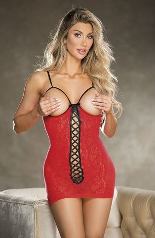 Shirley of Hollywood Red Open Bust Chemise
