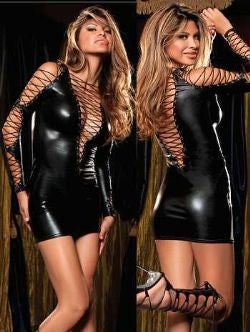 Black Wetlook Rope Vinyl Mini Dress Size 8/10 - The Pantie Purse