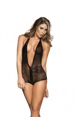 Espiral Black Lace and Wet Look Body Lingerie - The Pantie Purse
