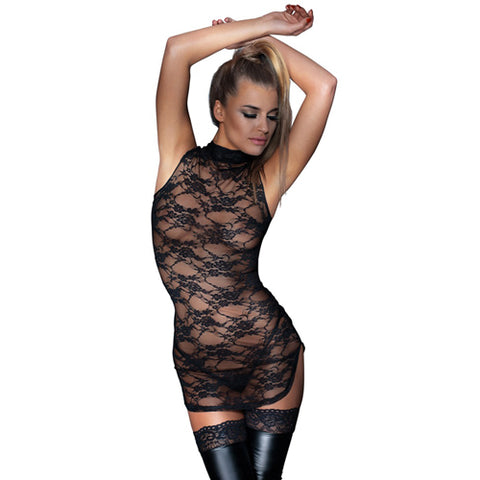 Noir Handmade Sheer Lace Oriental Dress