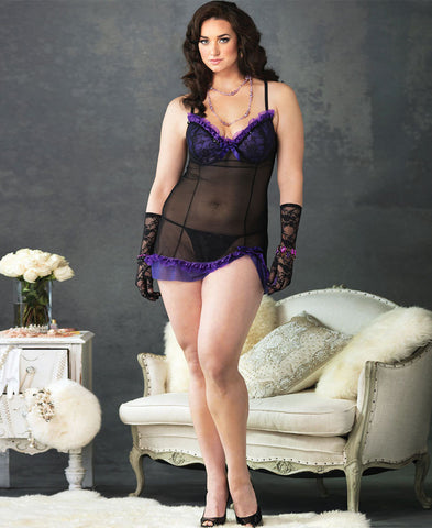 Plus Size Purple Trim Padded Chemise - The Pantie Purse
