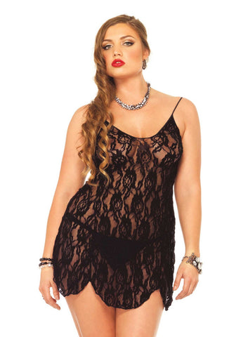 Leg Avenue Plus Size Rose Lace Flair Chemise - The Pantie Purse