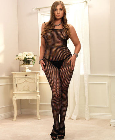 Leg Avenue Plus Size Seamless Crochet Black Bodystocking - The Pantie Purse