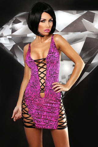 Lolitta Zebra Wet Look and Lycra Mini Dress - The Pantie Purse